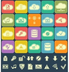 Silhouette Cloud Storage Data analysis network vector image