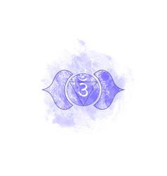 Sixth chakra of ajna third eye chakra logo icon vector