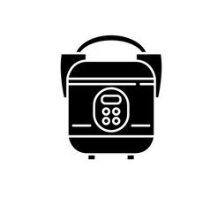 slow cooker black icon sign on isolated vector image