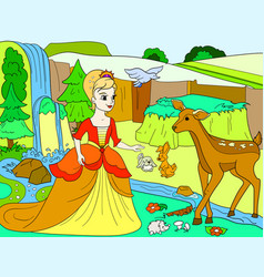 Snow white in the woods with animals tale vector