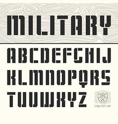 Stencil plate sans serif font vector image