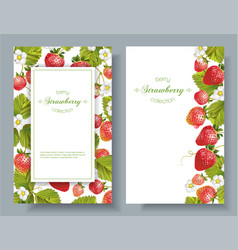 Strawberry vertical banners vector