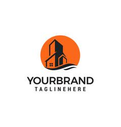 Sun estate building logo design template vector