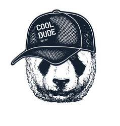 Tattooed panda hipster boy vector