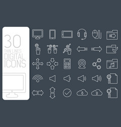 thin line digital gadget set icons concept vector image