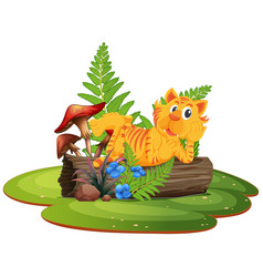 tiger on tree log vector image