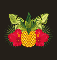 tropical flowers black background vector image