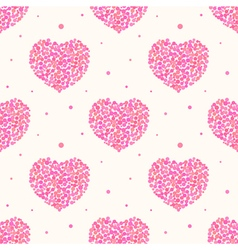 Valentines Day pattern with pink dotted hearts vector image