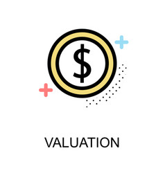Valuation icon with coin on white background vector