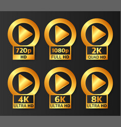 Video quality badges in gold color on black vector
