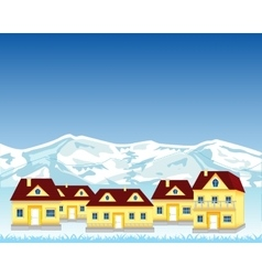 Village misplaced in mountain vector image
