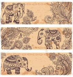 Vintage set of banners with ethnic elephants vector image