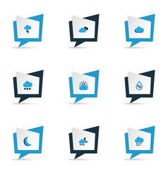 weather icons colored set with cloudy sky moon vector image