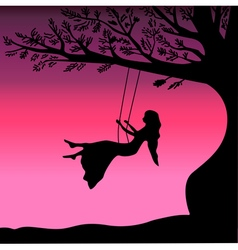 Young girl sitting on the swing in summer garden vector