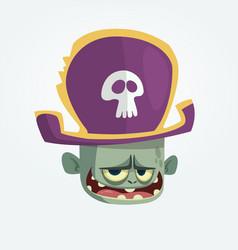 cartoon pirate zombie head vector image
