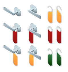 isometric hotel handles with hanging signs vector image vector image