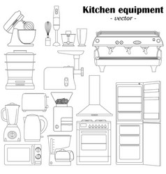 set of 14 elements of the kitchen equipment vector image vector image