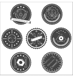 Set of vintage tools labels vector image vector image