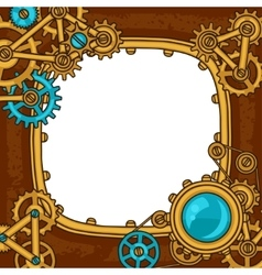 Steampunk frame collage of metal gears in doodle vector image