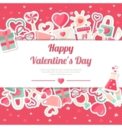 Valentines Day Banner With Flat Icons Stickers on vector image