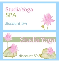 Design flyer card with flowers lotus vector image