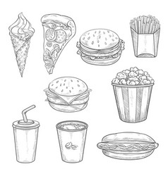 fast food sandwiches drink and dessert sketch vector image vector image
