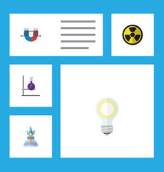 Flat icon science set of flask irradiation vector