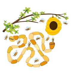 Game template with bees and beehive background vector image vector image