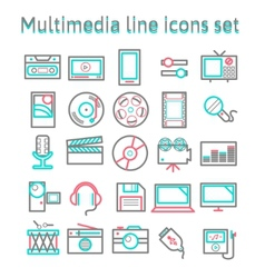 Multimedia line icons set vector image