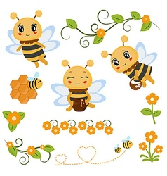 Honey bee theme characters and icons vector image