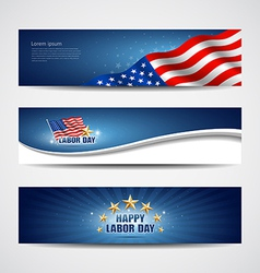 Labor day USA banner design set vector image