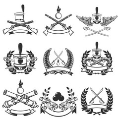 set of ancient weapon emblems muskets sabers vector image vector image