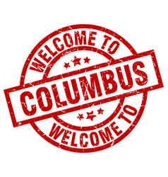 welcome to columbus red stamp vector image