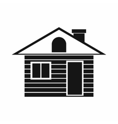 Wooden log house icon simple style vector image