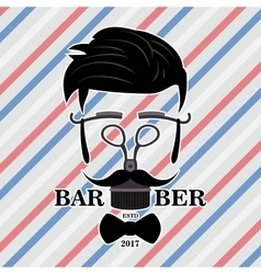 Barber Shop Hipster Silhouette Logo Hairstyle Man vector image
