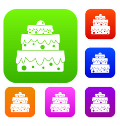 big cake set color collection vector image vector image