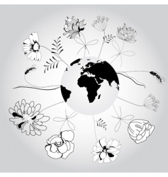 globe with flowers vector image