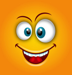 happy emoticon with open mouth and smiling vector image vector image