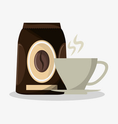 Packaking of coffee and porcelain cup with steam vector