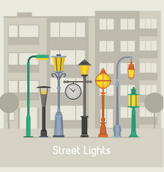 street lamps and lamp posts banner vector image