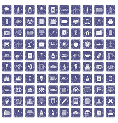 100 company icons set grunge sapphire vector