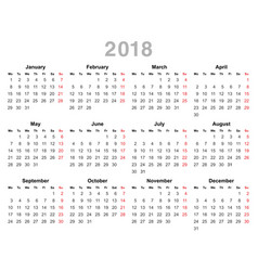 2018 year annual calendar monday first english vector