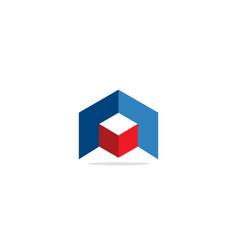 3d shape cube company logo vector