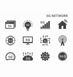 5g technology icon icons set on black vector