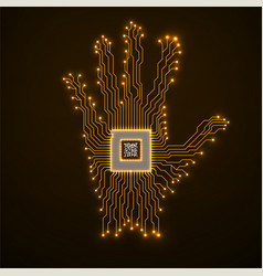 Abstract neon hand with cpu circuit board vector