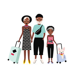 african american family on journey mother father vector image