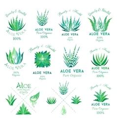 Aloe vera design elements emblems collection vector