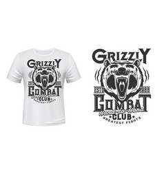 Angry bear mascot t-shirt print template vector