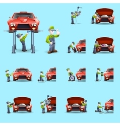 Auto mechanic flat icons set vector