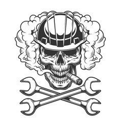 Builder skull smoking cigar vector